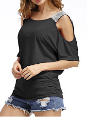 Summer  Cotton  Women  Open Shoulder  Glitter  Plain Short Sleeve T-Shirts