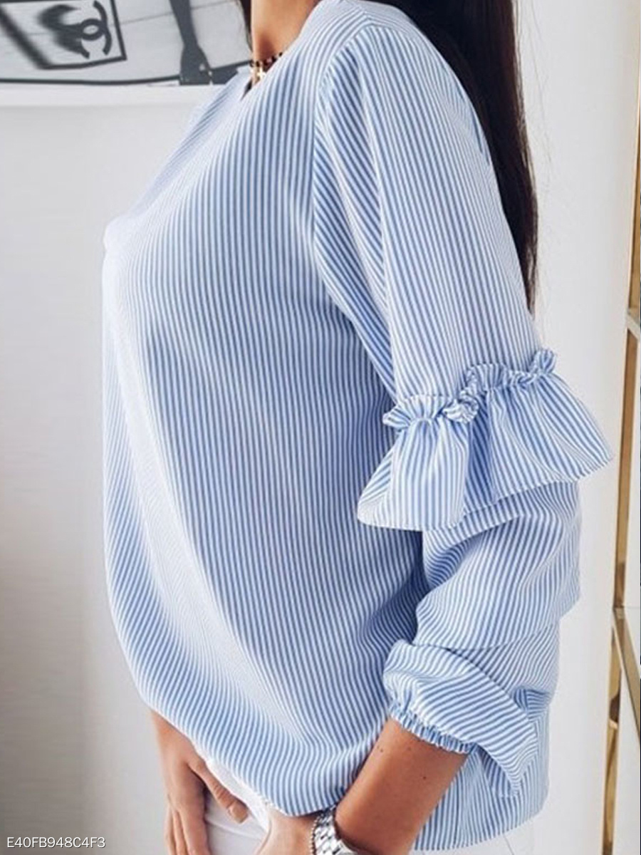 V Neck Long Sleeve Stripes Ruffles Casual Blouses