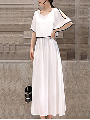 Round Neck  Contrast Trim  Plain Maxi Dress
