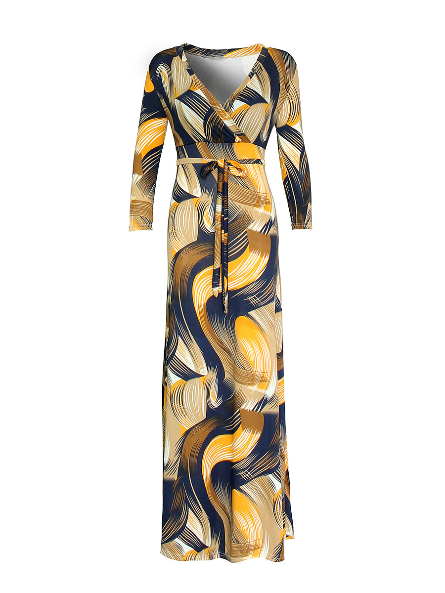 Bowknot Printed V-Neck Maxi Dress