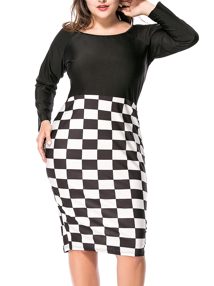 Courtly Round Neck Plaid Plus Size Bodycon Dress