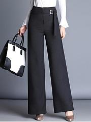 Plain-Belt-High-Rise-Wide-Leg-Casual-Pants