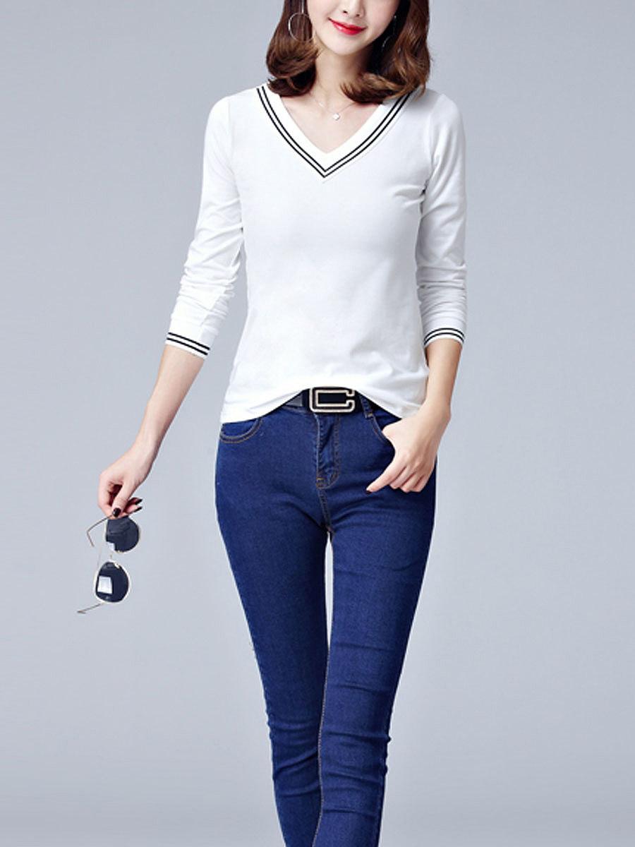 Autumn Spring  Cotton  Women  V-Neck  Plain Long Sleeve T-Shirts