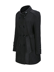 High Neck  Double Breasted  Plain Woolen Coats