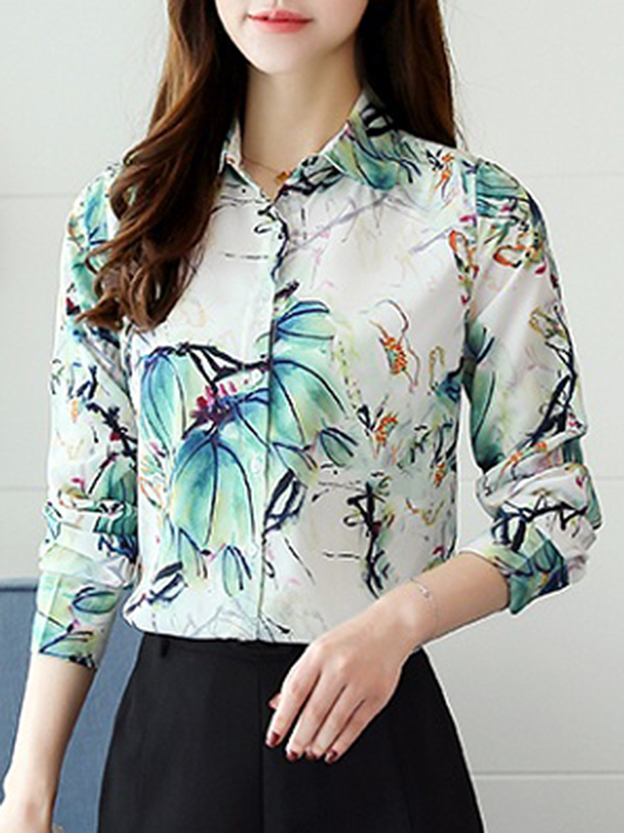 Awesome Printed Turn Down Collar Blouse
