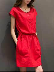 Round Neck Drawstring Pocket Plain Shift Dress