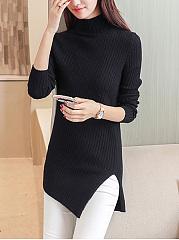High-Neck-Asymmetric-Hem-Vented-Plain-Sweater