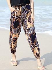 Pocket-Elastic-Waist-Printed-Pegged-Casual-Pants