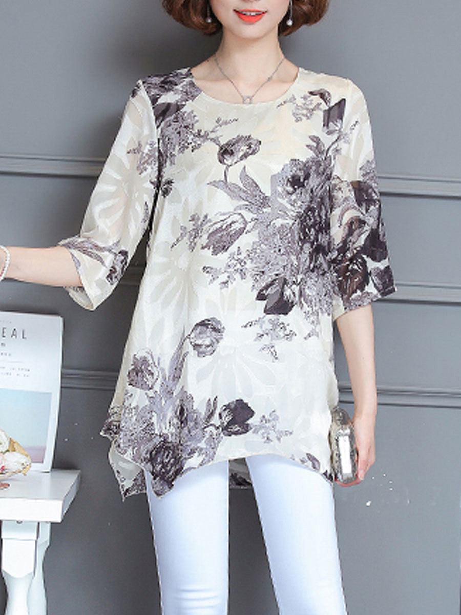 Round Neck  Printed  Half Sleeve Blouses