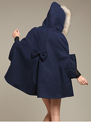Hooded  Bowknot  Plain  Cape Sleeve Cape