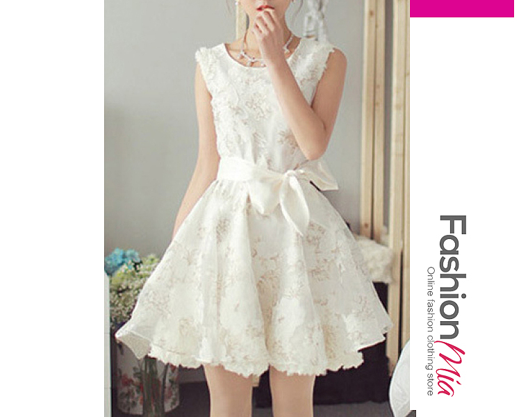 thickness:regular, brand_name:fashionmia, down_content:100%, style:fashion,sweet, material:polyester, collar&neckline:round neck, sleeve:sleeveless, embellishment:bowknot, pattern_type:floral, how_to_wash:cold  hand wash, supplementary_matters:all dimensions are measured manually with a deviation of 2 to 4cm., occasion:date,party, season:autumn,spring,summer,winter, dress_silhouette:flared, package_included:dress*1, lengthshoulderbustwaist