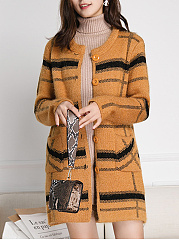 Collarless  Striped Cardigan