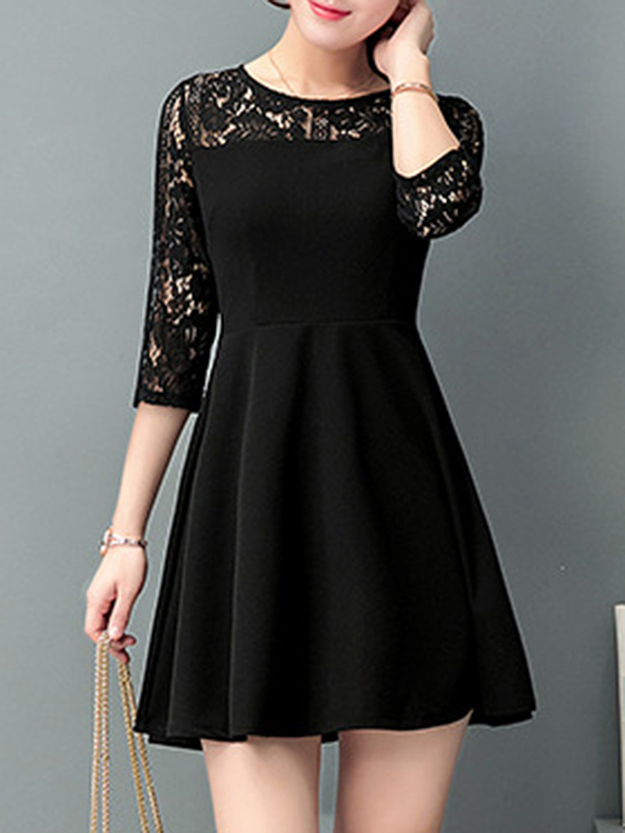 Chic Hollow Out Plain Round Neck Skater Dress