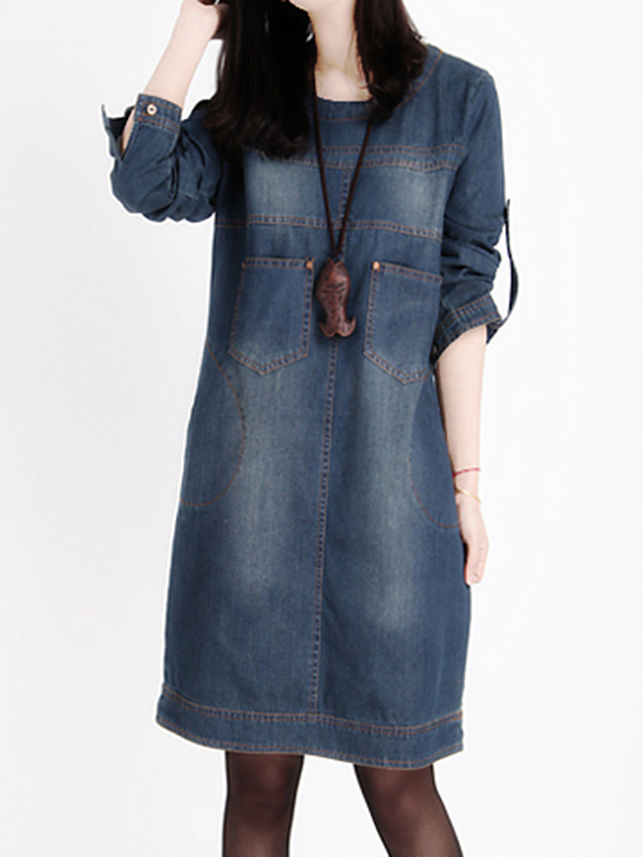 Round Neck Patch Pocket Light Wash Denim Shift Dress