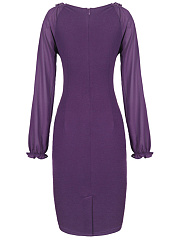 Round Neck Patchwork Plain Long Sleeve Bodycon Dress