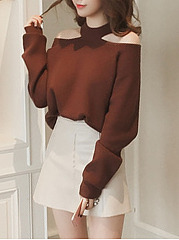 Solid Open Shoulder Loose Sweater