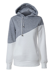 Drawstring  Color Block  Long Sleeve Hoodies