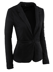 Solid Notch Lapel Single Button Blazer