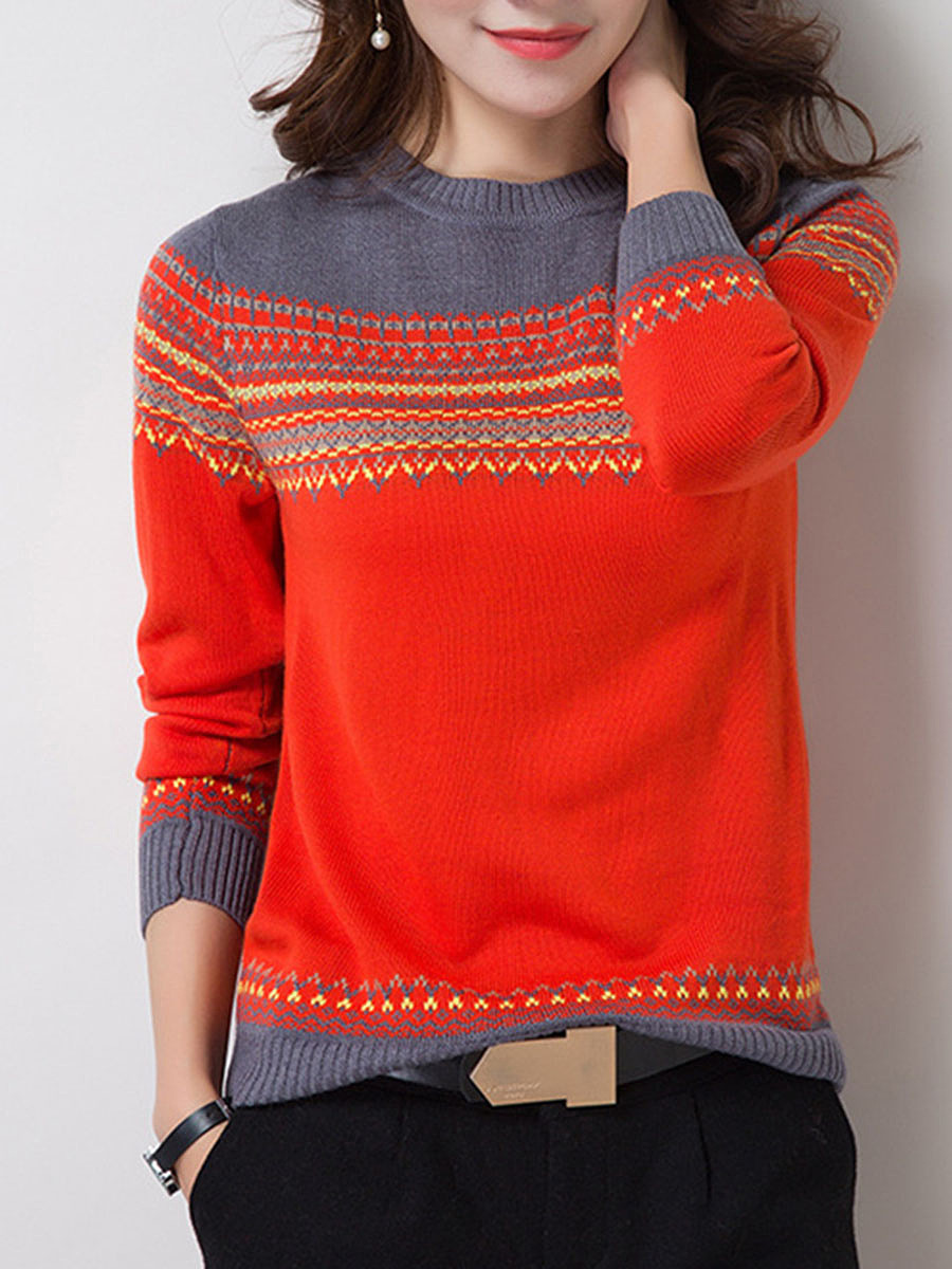 Round Neck  Color Block Pullover