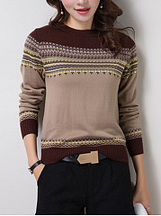 Round Neck  Color Block Striped  Long Sleeve Sweaters Pullover