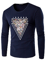 Round Neck Men Letters Triangle Printed T-Shirt