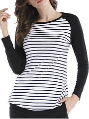 Round Neck  Loose Fitting Patchwork  Stripes Long Sleeve T-Shirts