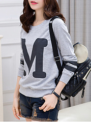 Round Neck  Color Block Letters Sweatshirt
