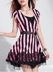 Decorative Lace  Striped Skater Dress