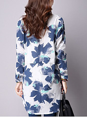 Autumn Spring  Cotton/Linen  Women  Band Collar  Slit Pocket  Printed  Long Sleeve Blouses