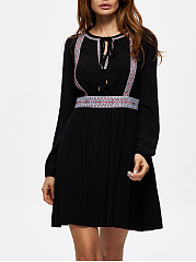 Tie Collar  Frayed Trim  Plain Skater Dress