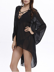 See-Through High-Low Chiffon Deep V-Neck Lace-Up Plain Tunic