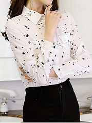 Spring Summer  Polyester  Women  Turn Down Collar  Flap Pocket Single Breasted  Star  Long Sleeve Blouses
