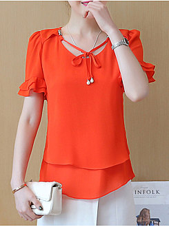 Summer  Chiffon  Women  Tie Collar  Beading  Plain  Bishop Sleeve  Short Sleeve Blouses