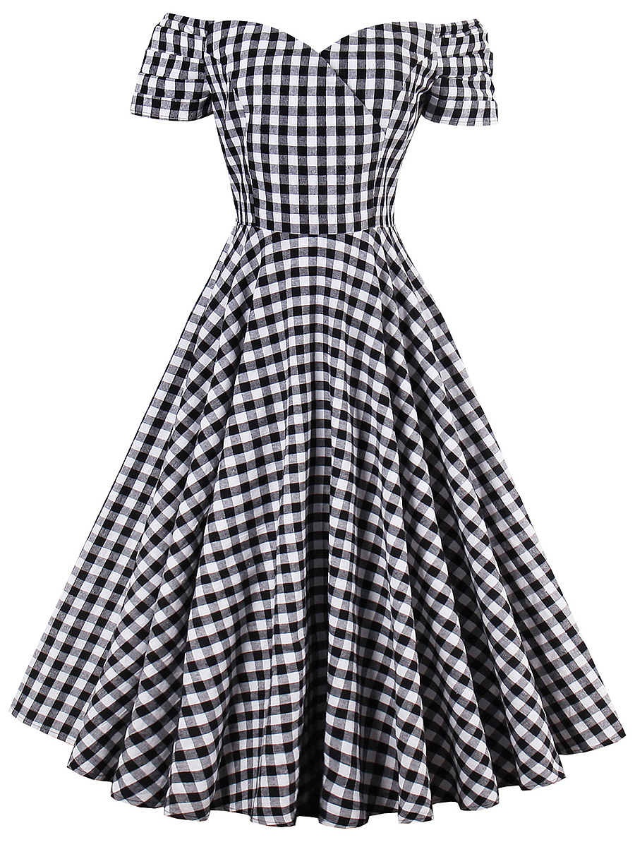 Off Shoulder Plaid Midi Skater Dress