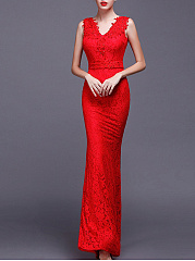 Celebrity-V-Neck-Plain-Lace-Mermaid-Evening-Dress