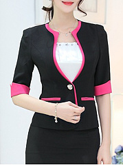 Collarless  Single Button  Plain  Half Sleeve Blazers