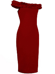 Open Shoulder  Plain  Blend Bodycon Dress