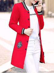 Band Collar  Single Breasted  Plain  Long Sleeve Coats