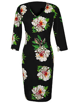 V-Neck Floral Printed Slit Bodycon Dress