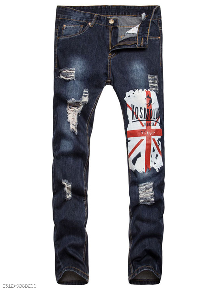 Patch Pocket  Ripped  Light Wash Printed  Straight  Mid-Rise Men's Jeans