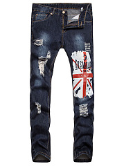 Patch Pocket  Ripped  Light Wash Printed  Straight  Mid-Rise Mens Jeans