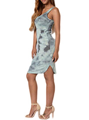 Scoop Neck  Abstract Print Bodycon Dress