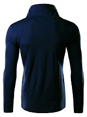 High Neck  Drawstring  Plain Men Long Sleeve T-Shirt