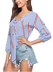 Spring Summer  Spandex  Women  Tie Collar  Striped  Three-Quarter Sleeve Blouses