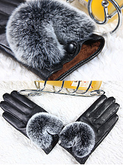 Fur Decorative Leather Fleece Gloves