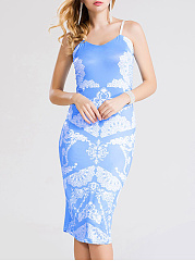Spaghetti Strap Printed Bodycon Dress
