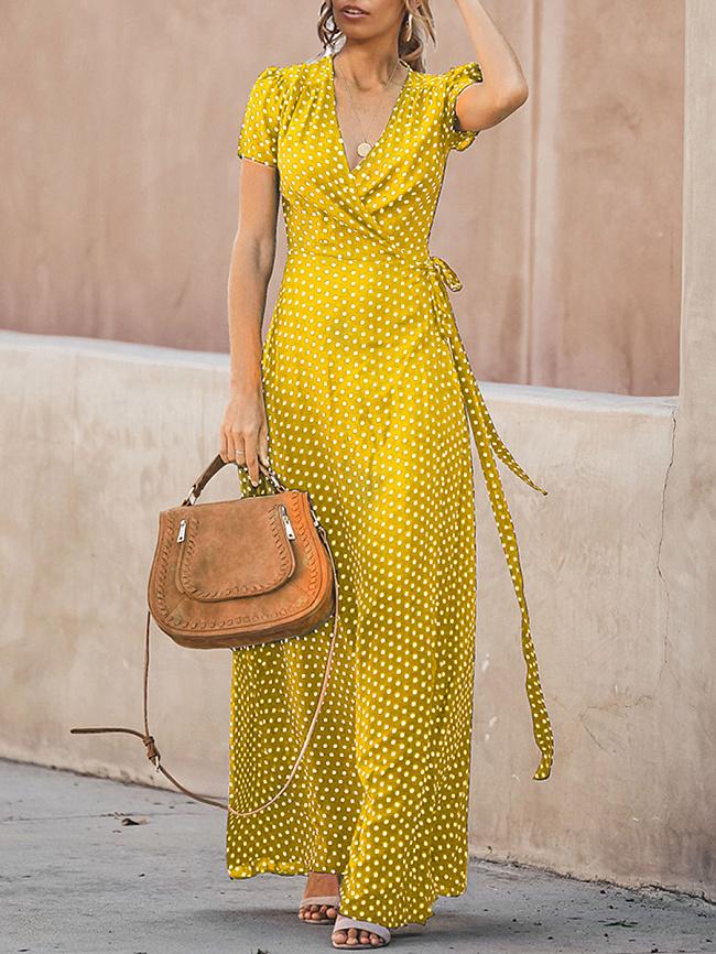 Fashionmia V-Neck  Belt  Polka Dot Maxi Dress