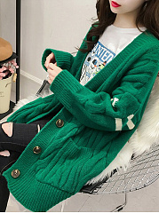 Single Breasted Slit Pocket  Contrast Piping  Long Sleeve Cardigans
