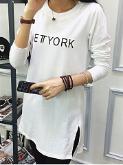 Round Neck  Slit  Letters Long Sleeve T-Shirts