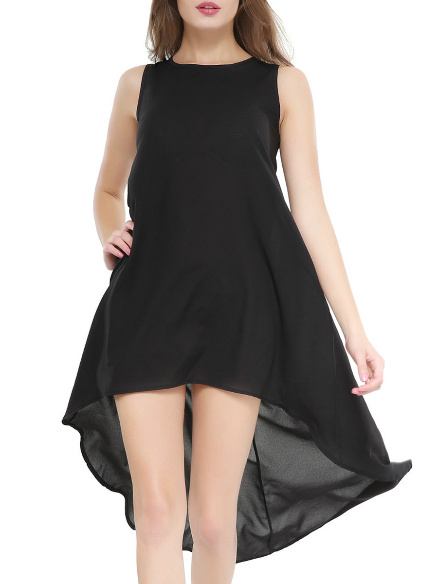 Round Neck  Asymmetric Hem  Curved Hem  Plain Skater Dress